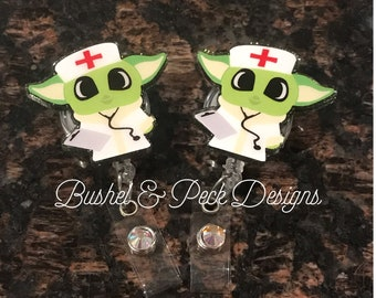 Glitter badge reel, baby alien badge reel, personalized badge reel, nurse badge reel, custom badge reel,