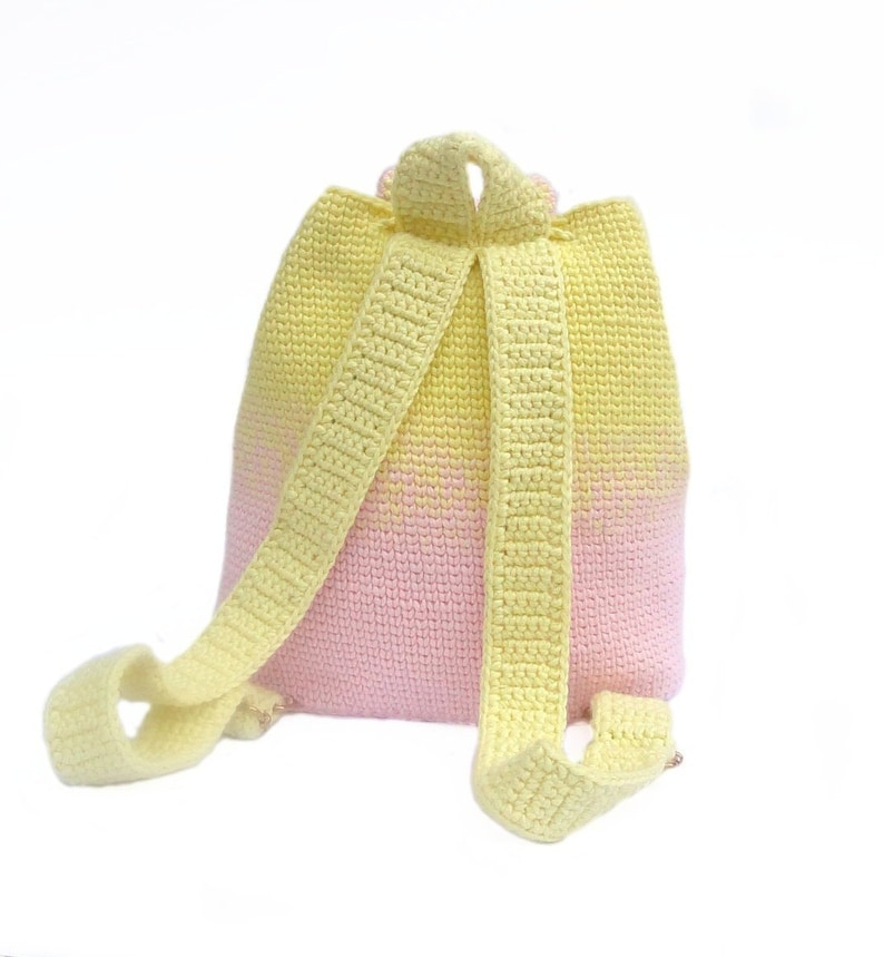 Cute and practical accessory for kids Handmade backpack and toy Yellow pink crochet hippo easter gift The Hippo backpack crochet bag