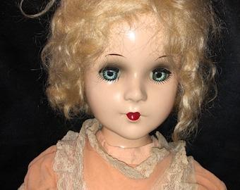 "22"" Madame Alexander Composition Vintage Doll Sleeping Blue Eyes"