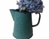 Vintage Blue Speckled Enamel Pitcher