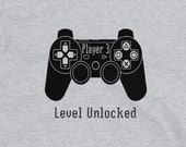 Gaming T Shirt for Men and Women, Player 3 Level Unlocked in Gray