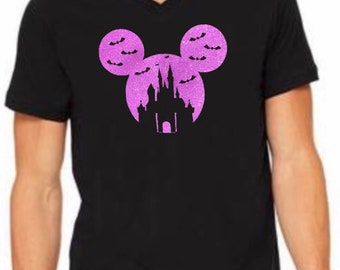 94dcde53 Mens Disney VNeck Shirt - Mickey Halloween Castle - Glitter - Mickeys Not  So Scary Halloween Party - Disney Shirt