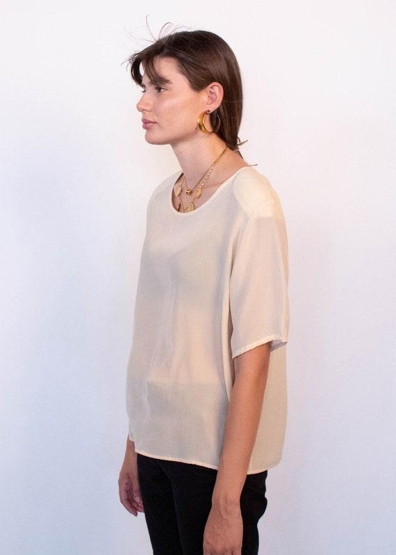 Ivory Boxy Silk Blouse fits sizes S/M/L - image 9