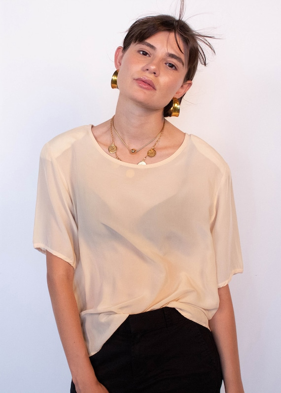 Ivory Boxy Silk Blouse fits sizes S/M/L - image 6