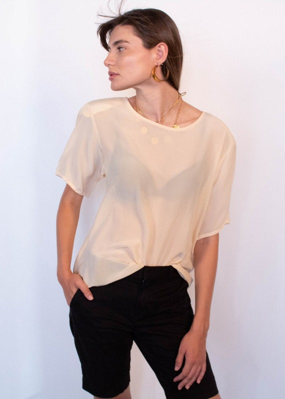 Ivory Boxy Silk Blouse fits sizes S/M/L