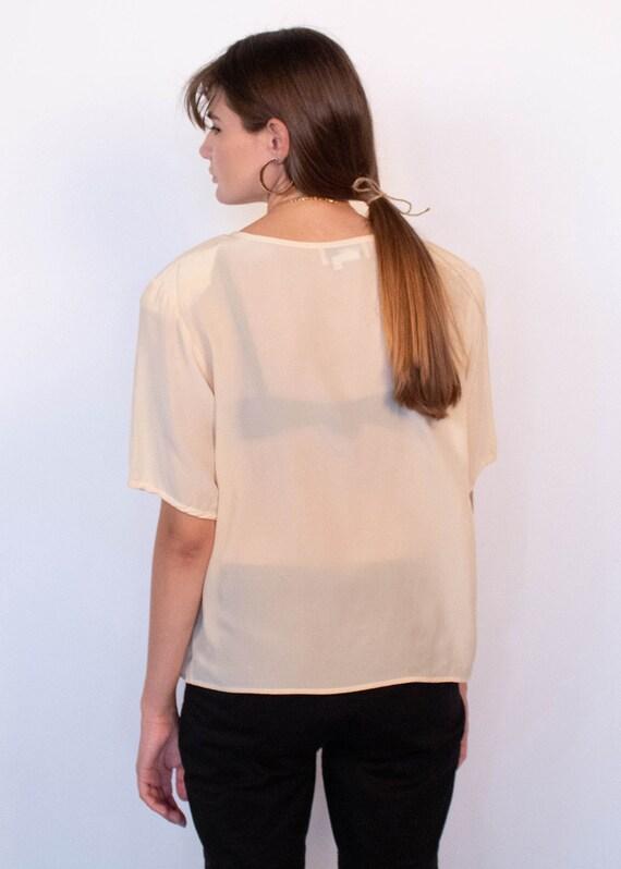 Ivory Boxy Silk Blouse fits sizes S/M/L - image 8