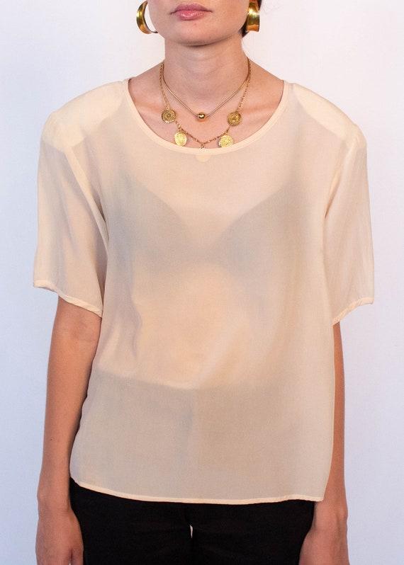 Ivory Boxy Silk Blouse fits sizes S/M/L - image 3