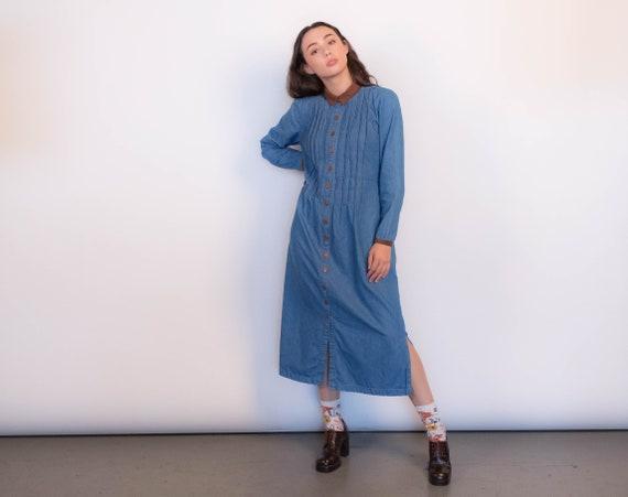 Denim Pleated Maxi Dress size XS/S/M