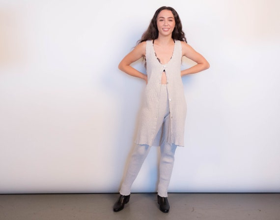 90s Oatmeal Crinkled-Knit Two-Piece Pant Set size