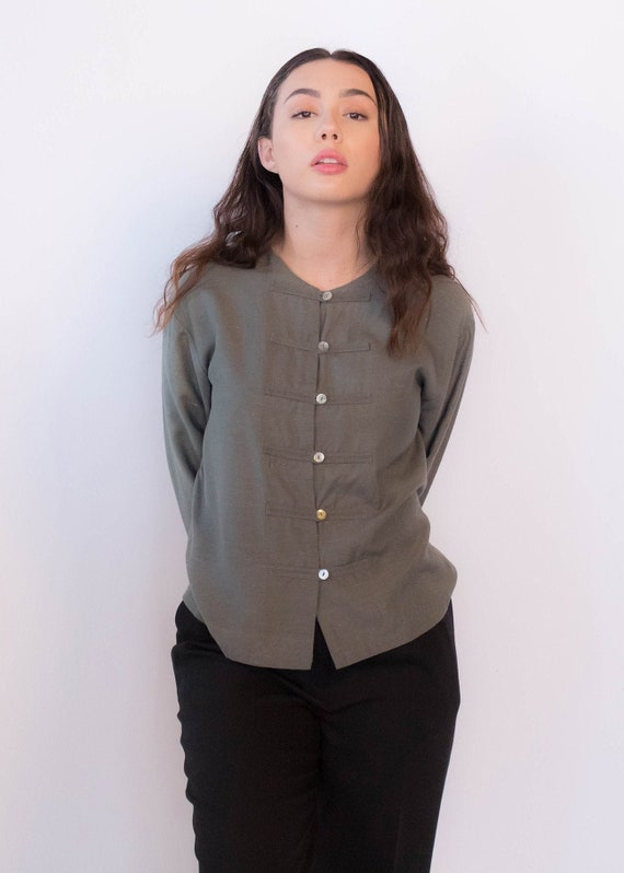 Raw Silk Asian Boxy Blouse size XS/S