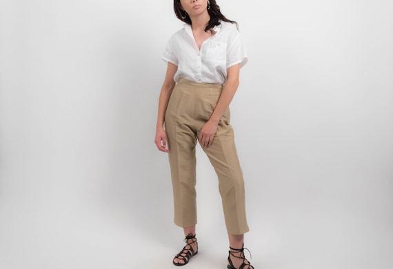 Vintage SILK Pants. 90s Minimal Silk Trousers. Hig