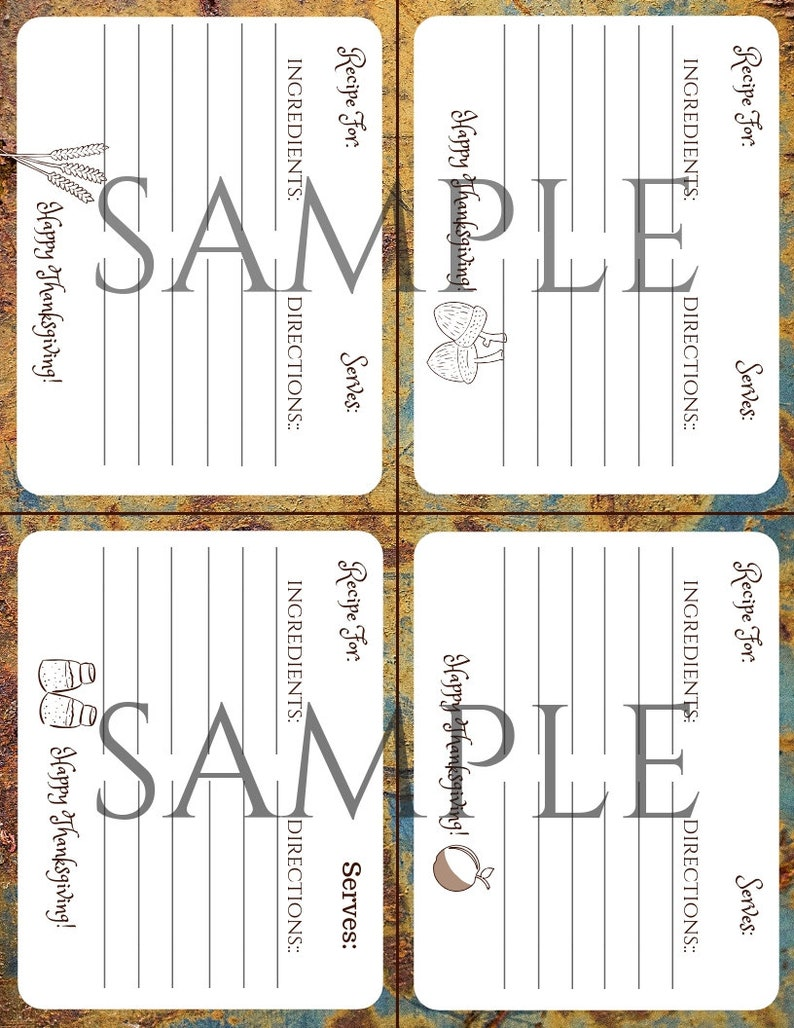 Thanksgiving Recipe Cards