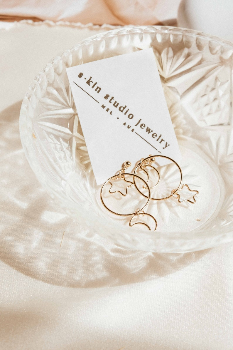 Hollow Moon /& Star Gold Filled Mismatched Earrings  14k Gold-Filled Earrings for Minimalists  Moon and Star Earrings  High Quality Gift