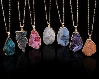 Gift Fashion Jewelry Gemstone Pendant Pear shape Pendant Charm Druzy pendant With Chain Handmade Druzy agate pendant Sale