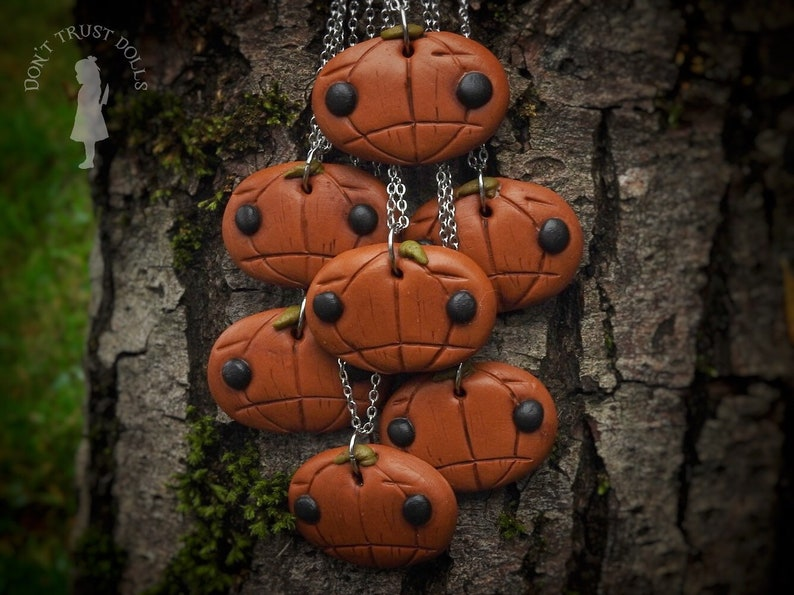 Sad Pumpkin necklace  pumpkin necklace halloween necklace image 0