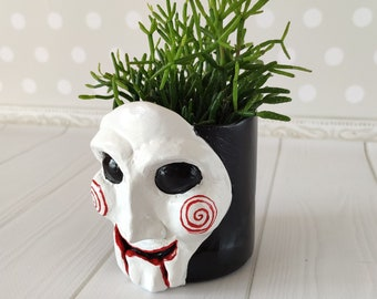 Jigsaw pot Scary decor Goth planter Geek gifts for him