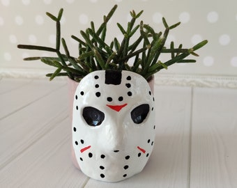 Friday the 13th pot Jason scary decor Goth planter Geek gifts for him