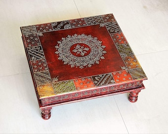 Wooden Hand Painted Handmade Ethnic Multicolored Indian Chowki Bajot  Footstool Table Bed Table Coffee Table