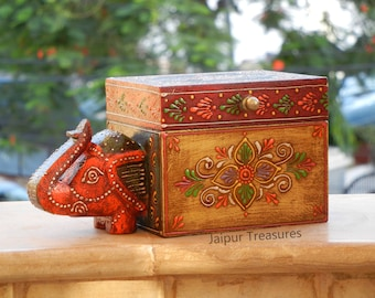 Indian Handmade Designer Jewellery Box Antique Style Wooden Brow Jewellery Box