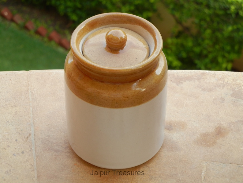 Ceramic Handmade Indian Pickle Jar Achaar Barni Set Of 3 Container Canister