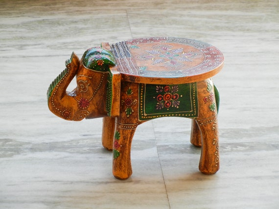 Strange Wooden Handmade Hand Painted Small Miniature Decorative Elephant Shape Colorful Stool Footstool Ottoman Pouffe Bench Chair Gmtry Best Dining Table And Chair Ideas Images Gmtryco
