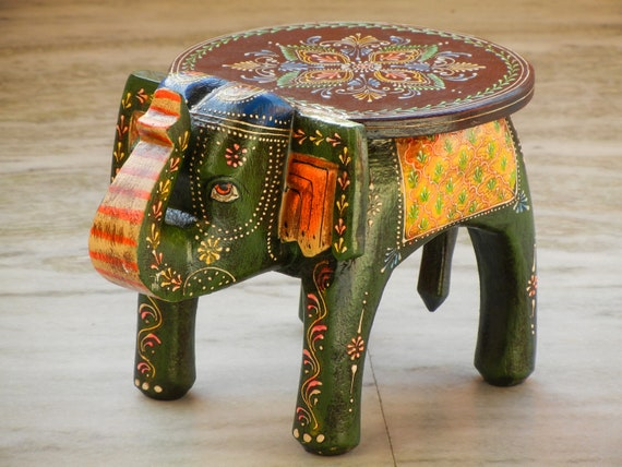 Pleasant Wooden Handmade Hand Painted Small Miniature Decorative Elephant Shape Colorful Stool Footstool Ottoman Pouffe Bench Chair Gmtry Best Dining Table And Chair Ideas Images Gmtryco