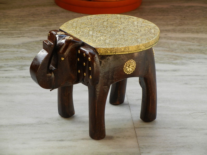 Prime Wooden Brass Handmade Small Miniature Decorative Elephant Shape Stool Footstool Ottoman Pouffe Bench Chair Gmtry Best Dining Table And Chair Ideas Images Gmtryco