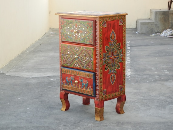 Wooden Handmade Hand Painted Colorful, Hand Painted Indian Bedside Cabinet