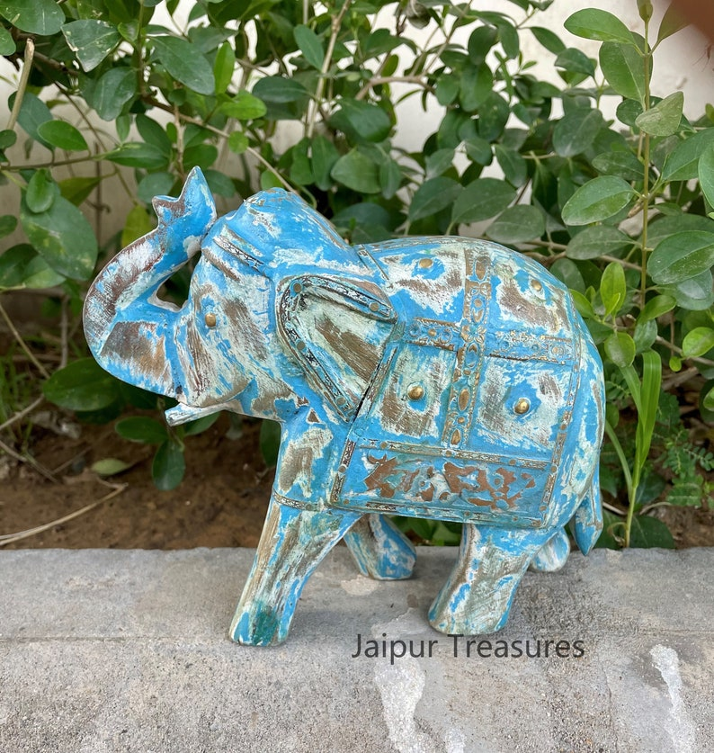 Distress Rustic Finish Wooden /& Brass Elephant Statue Figure Handmade Hand Painted Home Decor Height 6.5 Inches Showpiece