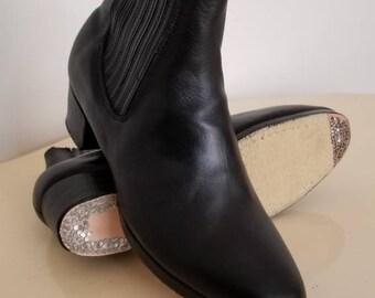 8a3093718 Black leather Classic Charro Folklorico Dance Boots Botin de baile negro  para hombre