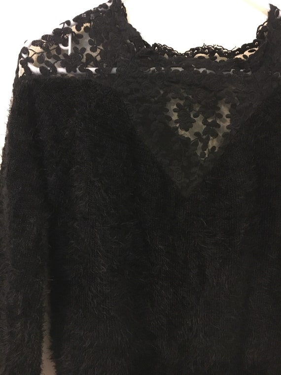 572265108174 80s/90s Styled Black Faux Fur Sweater   Etsy