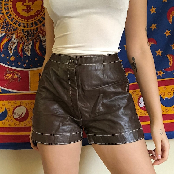 1970s Brown Leather Shorts