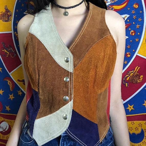 70s Suede Patchwork Vest