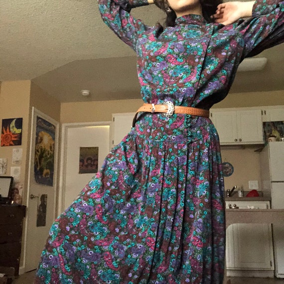 1970s Patty O'Neil Paisley Floral Dress