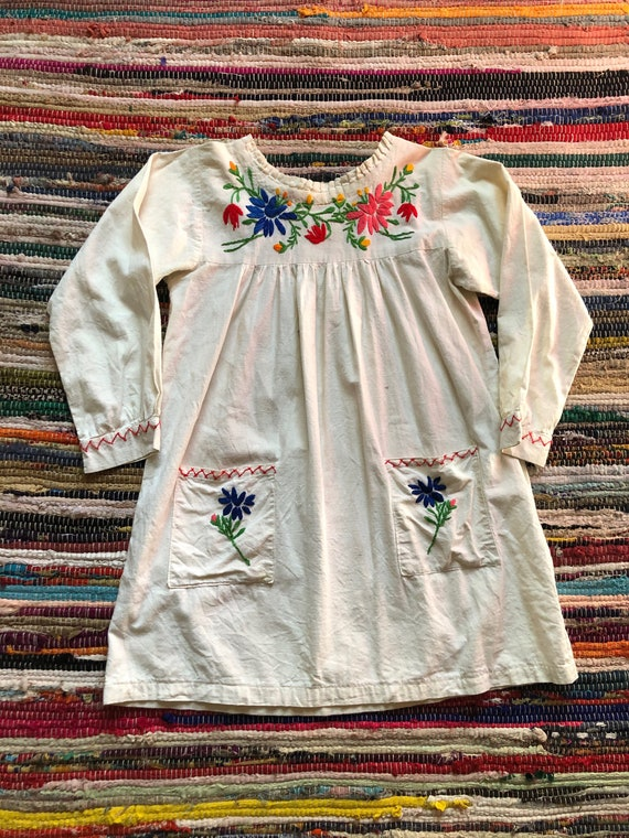 1960s Embroidered Floral Mini Dress