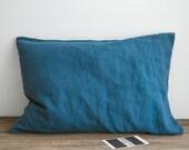 Linen pillowcase in Blue Sea Standard, Twin, Full, Queen, King, Euro, AU, UK, Custom size Stonewashed soft linen