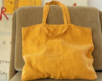 Large linen bag, Stonewashed linen tote bag, Zero waste bag, large market bag, linen beach bag, roomy linen shopping bag in various colors