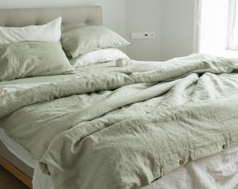 3 piece linen bedding set in Sage Green / Linen duvet cover and 2 pillowcases / Twin, Full, Queen, King, Euro, AU sizes