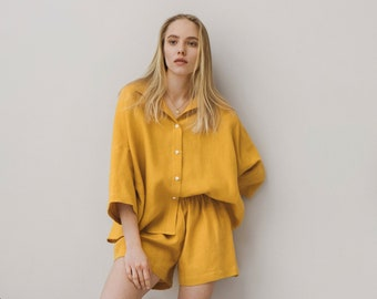 Linen pajama in Various color / Soft  Linen Shirt and shorts / Linen nightwear, sleepwear / Women's washed linen clothes