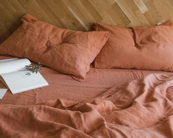 3 piece linen bedding set in Dark Orange / Linen duvet cover and 2 pillowcases / Twin, Full, Queen, King, Euro, AU sizes