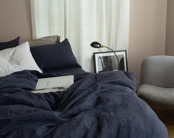 3 piece linen bedding set in Navy Blue / Linen duvet cover and 2 pillowcases / Twin, Full, Queen, King, Euro, AU sizes