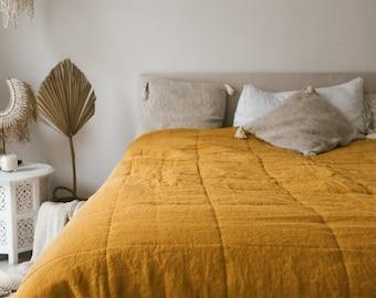 Linen Quilted Bedspread in Mustard color /  Linen Blanket / Stonewashed Linen Quilt / Soft Linen Throw / Queen, King size / Linen Bedding