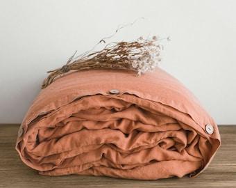 Linen Duvet Cover in Dark Orange / Stonewashed Linen Bedding / Linen duvet cover in Brick / Twin, Full, Queen, King, Euro and custom sizes