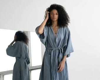 01548e4d71 Kimono robe in Blue-gray   Stonewashed linen Kimono   Linen Kimono Robe   Linen  Kimono Dress   Oversize Linen Kimono Jacket