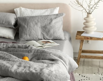 3 piece linen bedding set in Light Gray / Linen duvet cover and 2 pillowcases / Twin, Full, Queen, King, Euro, AU sizes