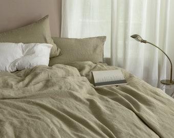 3 piece linen bedding set in Pistachio Green / Linen duvet cover and 2 pillowcases / Twin, Full, Queen, King, Euro, AU sizes