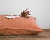 Linen pillowcase in Dark Orange Standard, Full, Queen, King, Euro, Custom size Stonewashed european linen