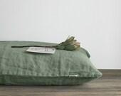 Linen pillowcase in Green Standard, Full, Queen, King, Euro, Custom size Stonewashed european linen
