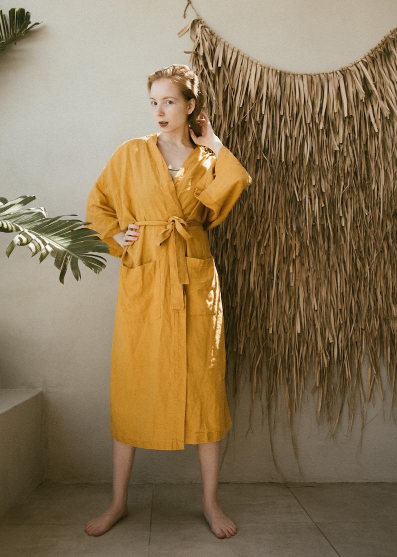 Linen Kimono Robe in Mustard  Stonewashed linen Kimono  Linen Spa  Linen Kimono Dress  Oversize Linen Kimono Jacket