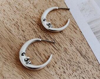 Thick Hoop Earrings Double Horn Earrings Big Hoop Earrings- Tribal Hoop Earrings Crescent Moon Earrings